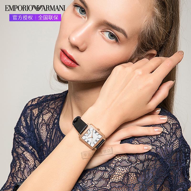 Armani阿玛尼手表女 方形复古风时尚商务皮革女士石英腕表AR11067