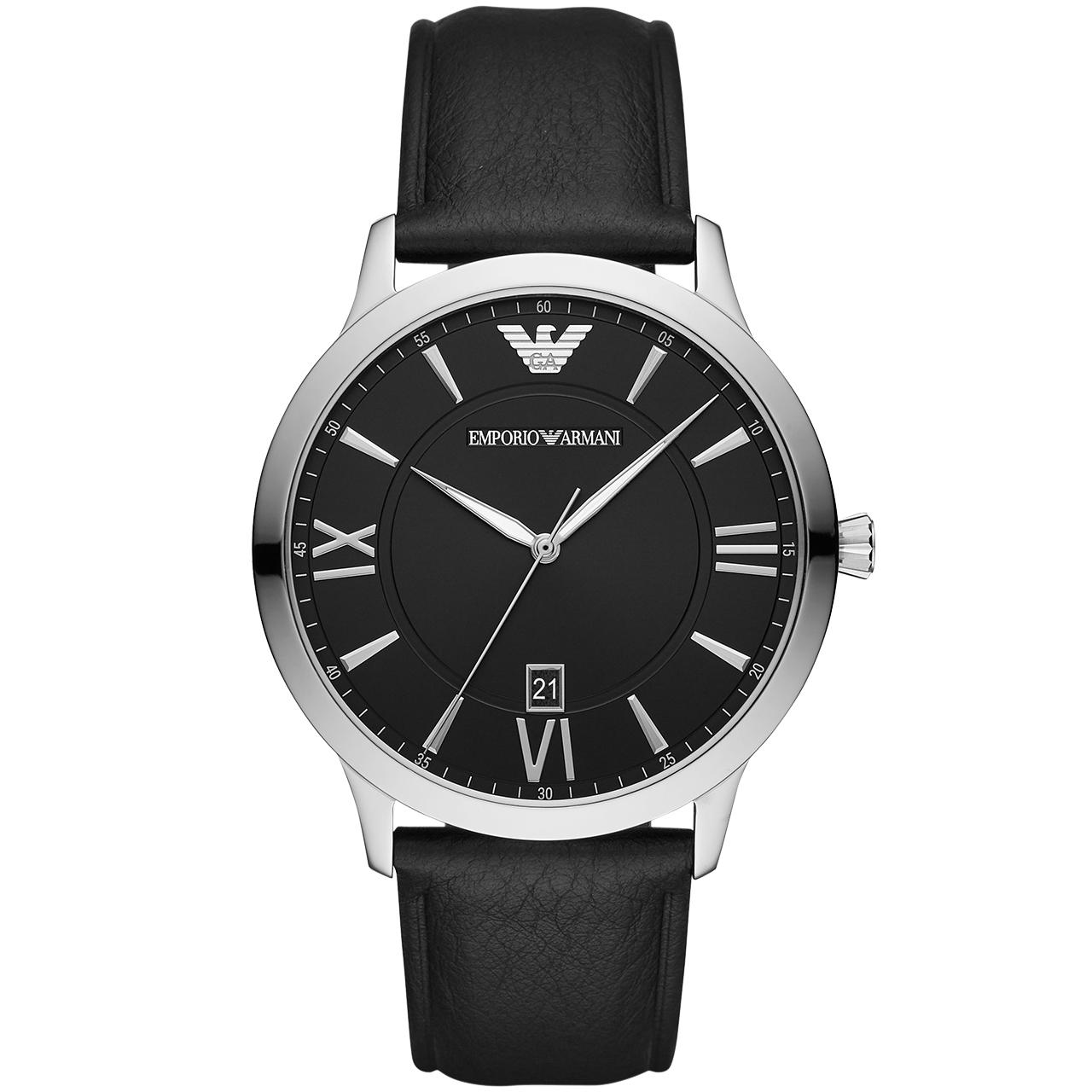 Armani阿玛尼复古风黑色皮带手表男时尚腕表防水新款男表AR11210