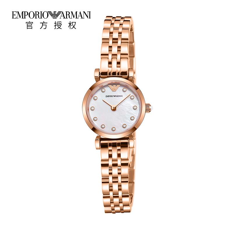 Armani阿玛尼小表盘 手表女满天星镶钻玫瑰金钢带石英女表AR11203