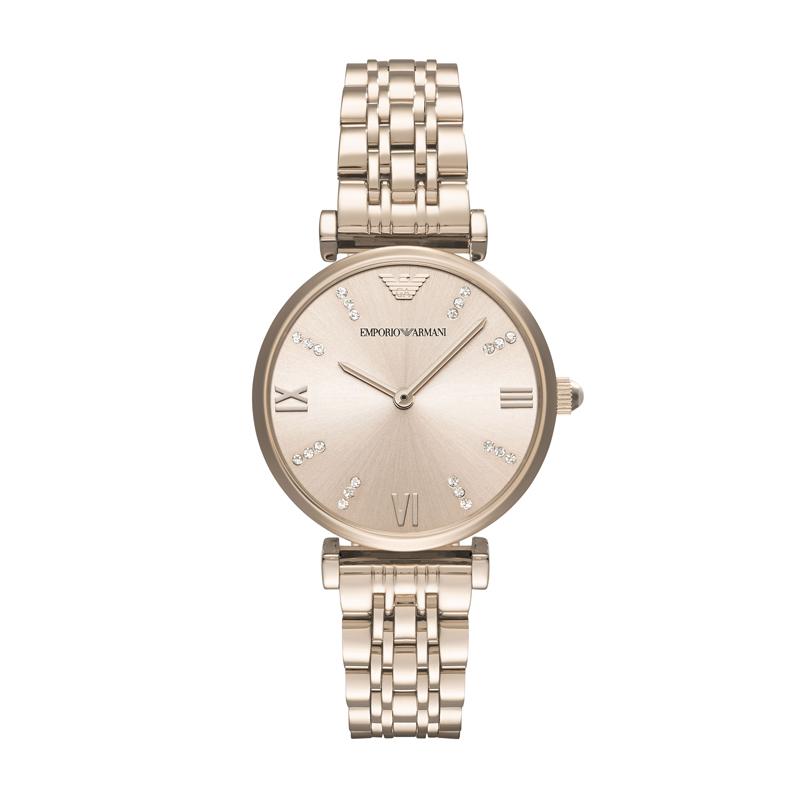 Armani阿玛尼满天星手表女 简约钢带女款手表镶钻石英腕表AR11059