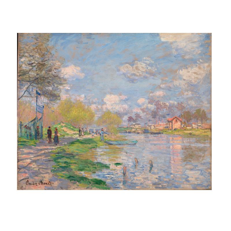 莫奈塞纳河畔风景三联组合墙挂画
