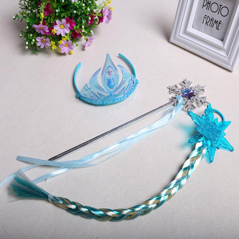 冰雪奇缘2皇冠魔法棒爱莎假发儿童配饰头饰艾莎包包头箍安娜辫子