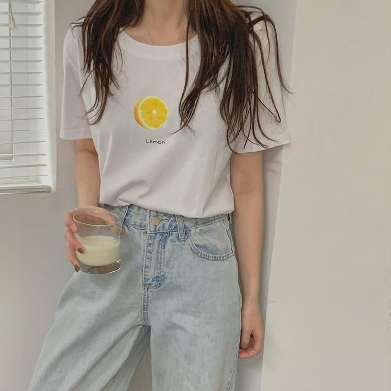 新疆棉t恤女ins纯棉短袖2021新款白色打底印花学生宽松香芋紫上衣