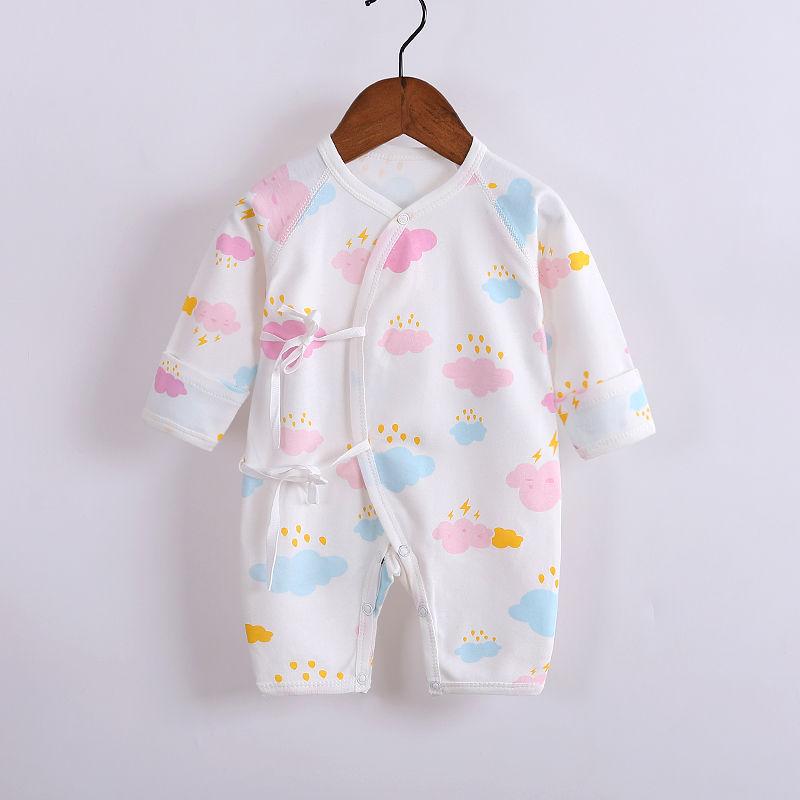 新生儿系带连体衣男女宝宝蝴蝶衣婴儿秋冬纯棉长袖打底内穿和尚服