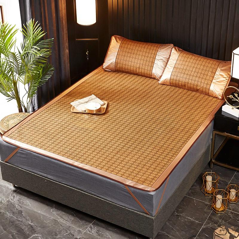 竹席凉席家用1.8m床1.5米夏季冰丝席子双面藤席学生单黄格竹凉席