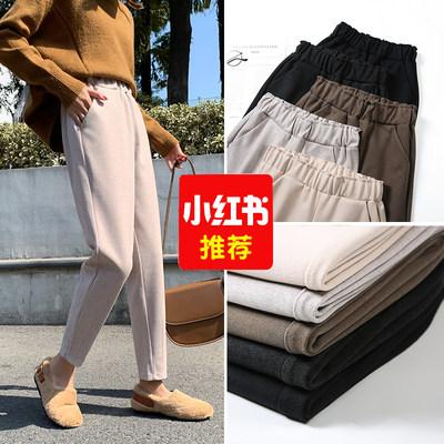 毛呢阔腿裤女2019新款秋冬萝卜奶奶裤小个子宽松显瘦直筒哈伦九分 - 图1