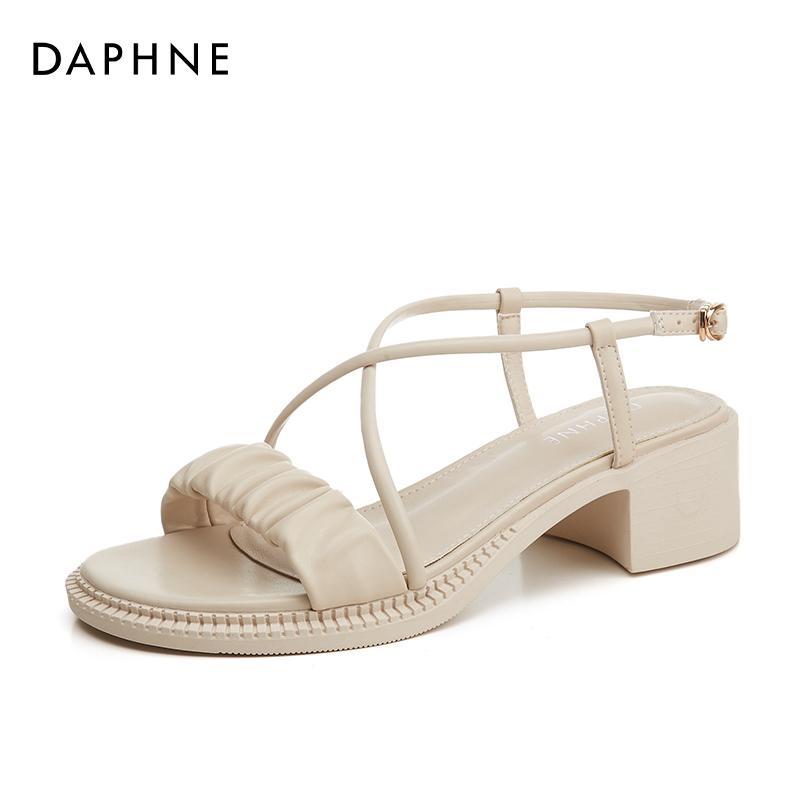 年新款夏季配裙子中跟淑女鞋交叉带罗马凉鞋 2021 达芙妮粗跟凉鞋女