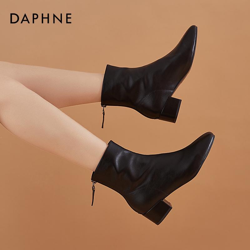 新款韩版马丁靴女鞋秋冬季加绒粗跟软皮瘦瘦靴中跟 2020 达芙妮短靴