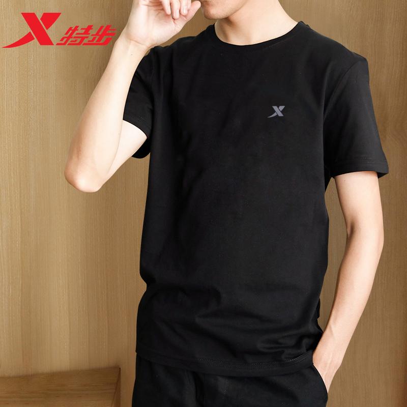 特步短袖t恤男夏季新款速干运动半袖宽松大码圆领体恤短裤套装男