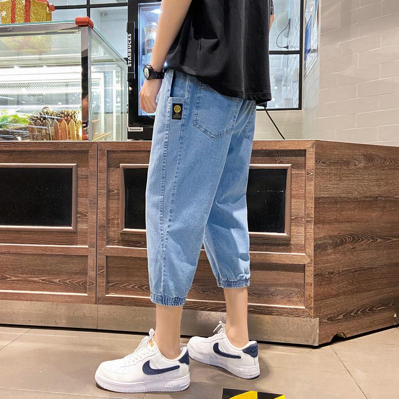 14岁初中学生韩版牛仔裤13青少年15男孩短裤七分裤16夏季运动裤潮