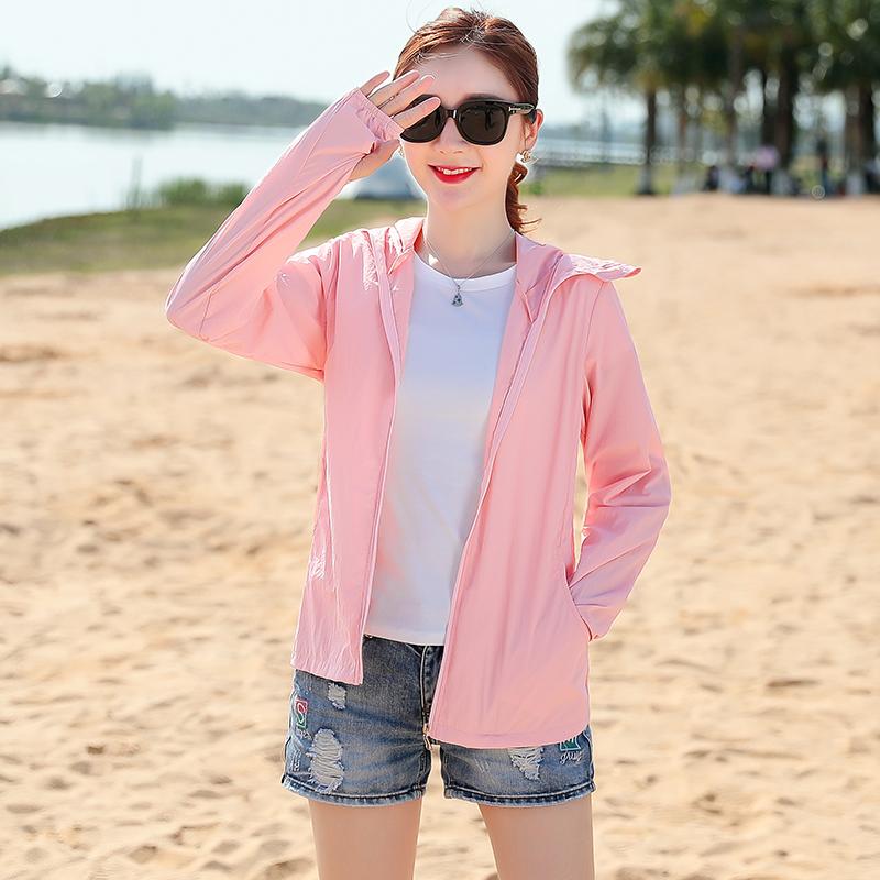 防晒衣女长袖 夏防紫外线透气时尚韩版洋气带帽度假户外防晒服  2020