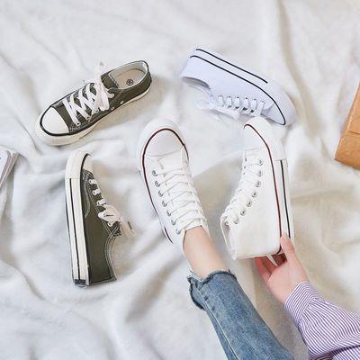 帆布鞋男高低帮春秋情侣潮百搭港风男女休闲韩版学生经典系带板鞋