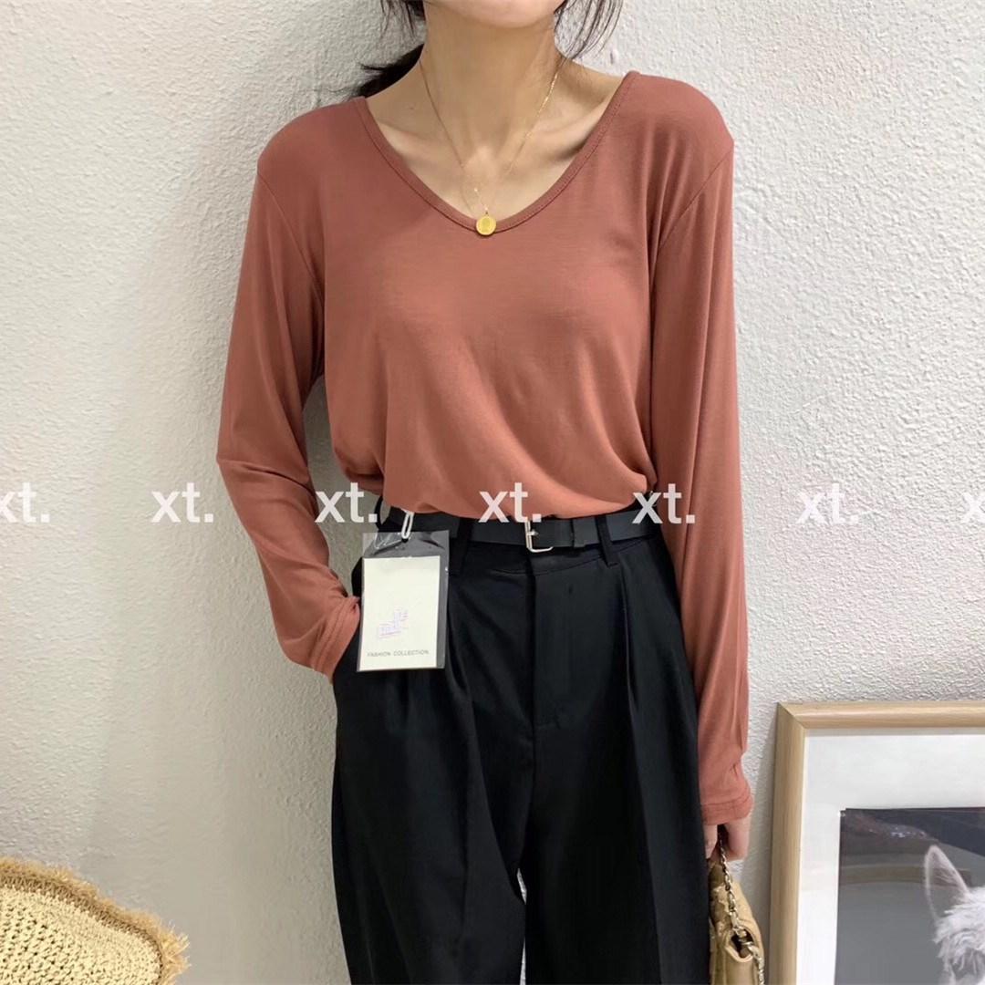 2019秋季新款网红ins黑色V领T恤女莫代尔垂感长袖上衣宽松面膜T