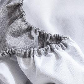 老粗布床笠加厚灰色床单单件纯棉麻布加密带花边纯色ins少女大炕