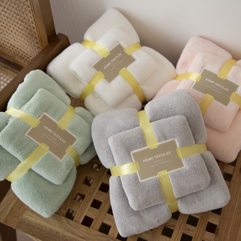 柔软超强吸水速干不掉毛 加厚珊瑚绒浴巾毛巾两件套 ins 韩国订单