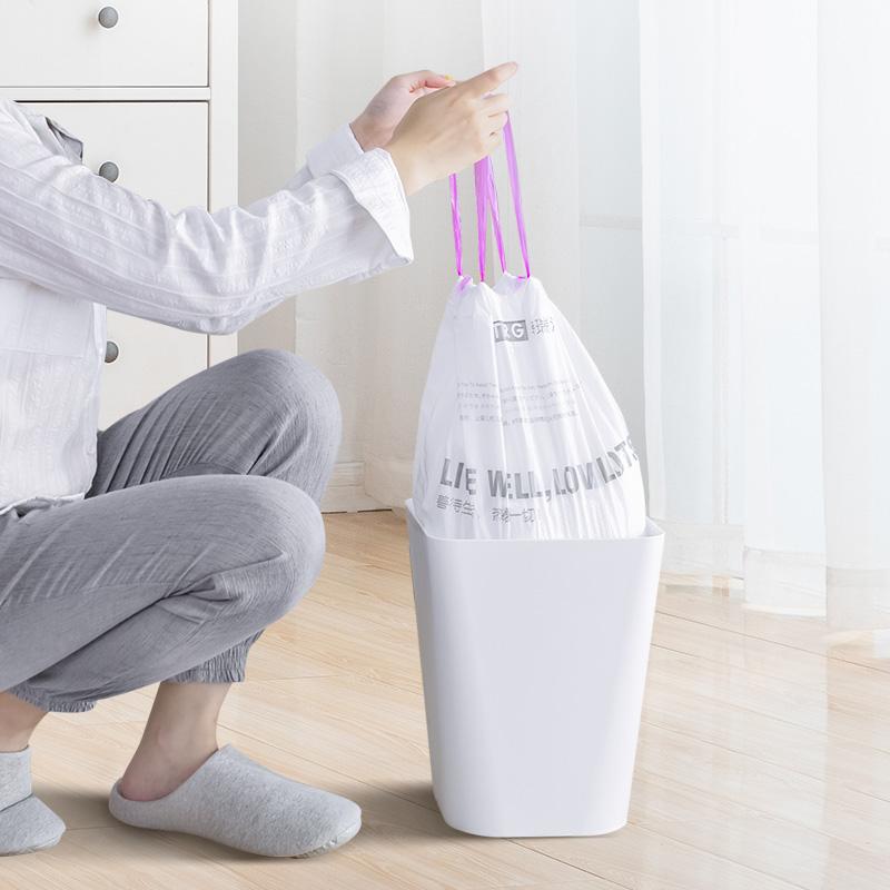 特瑞洁自动收口抽绳垃圾袋加厚一次性厨房家用手提式中大号