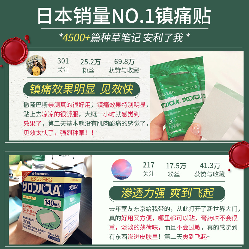 日本久光膏药贴撒隆巴斯镇痛贴关节腰酸背痛止疼贴140枚久光制药