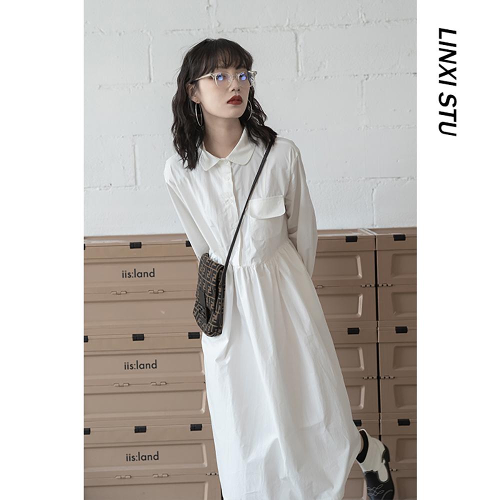 新款长袖衬衫裙女长裙