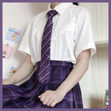 # # Black and Purple Heart dark blue pleated skirt gaming grid lines grid bad girl JK skirt summer dress