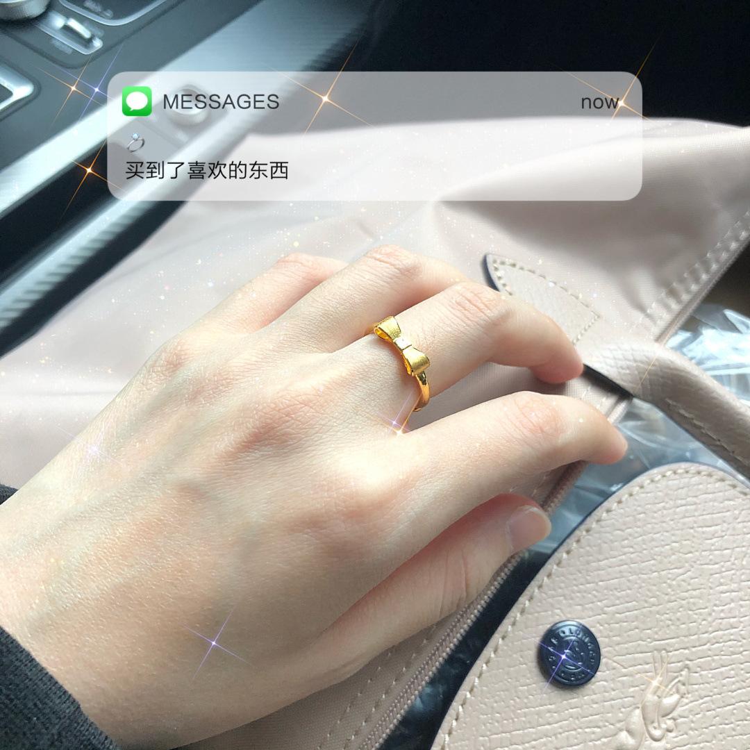 蝴蝶结戒指素圈18K金小众设计简约开口可调节专柜正品1年免费换新