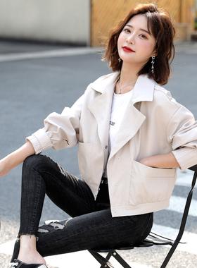 白色皮衣外套女短款2021年春季春秋百搭韩版宽松矮小个子小皮夹克