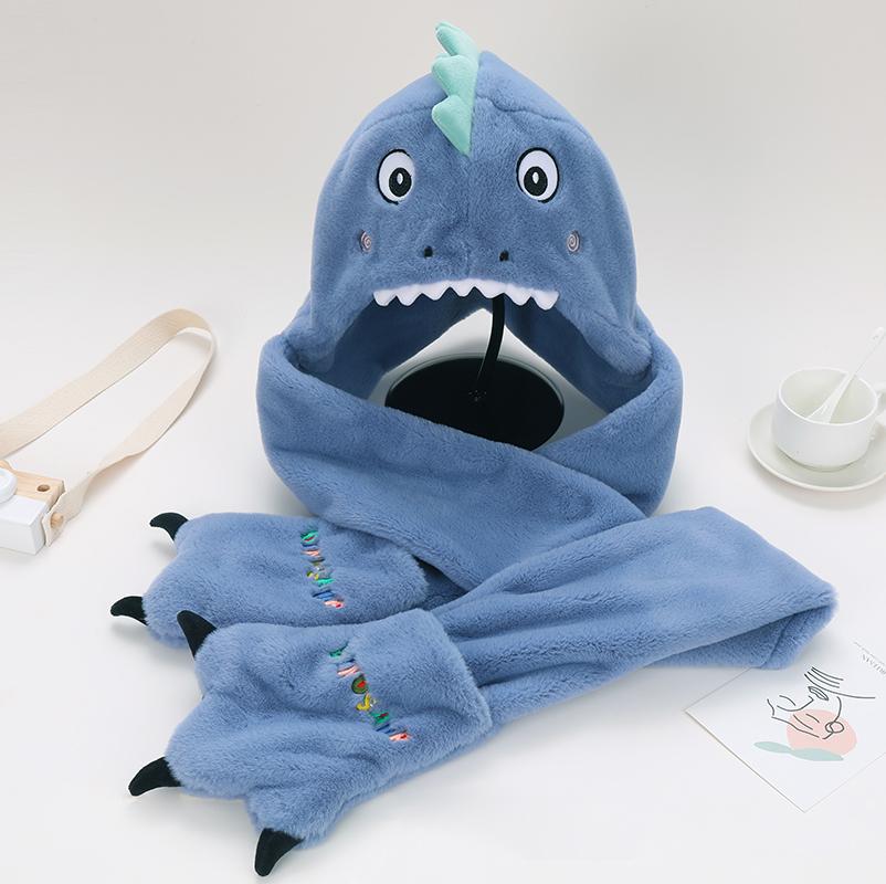 小恐龙帽子围巾一体秋冬季儿童保暖可爱男女童宝宝毛绒手套三件套