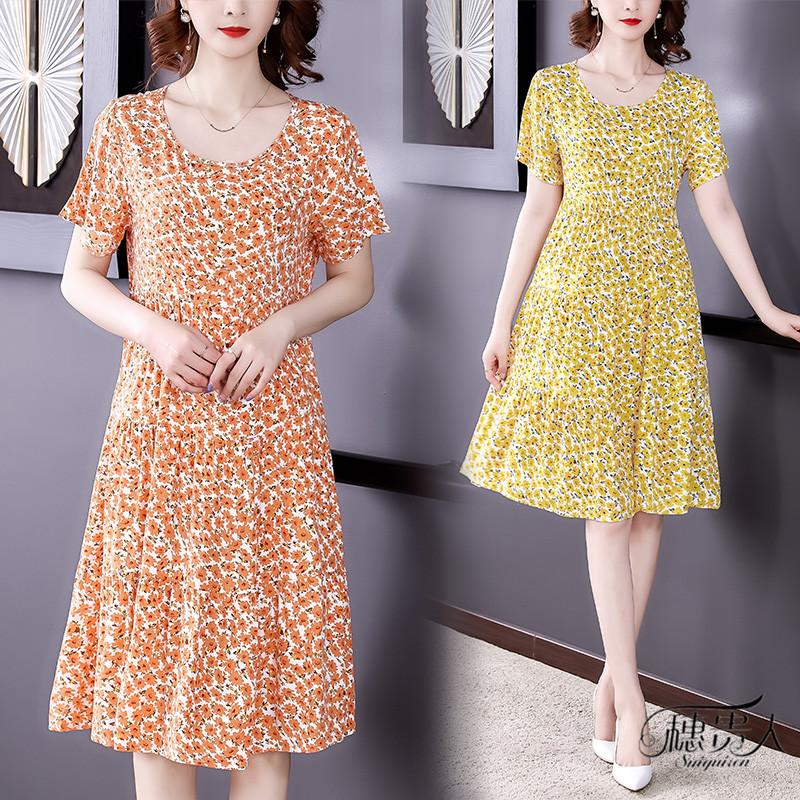棉绸睡衣女夏季2021年新款碎花薄款大码外穿中年妈妈绵绸连衣裙子