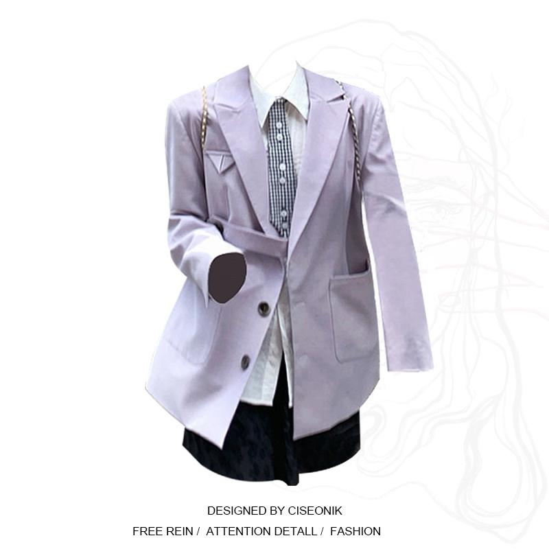 大码女装胖妹妹英伦学院风廓型一粒扣早秋西装女设计感小众外套潮