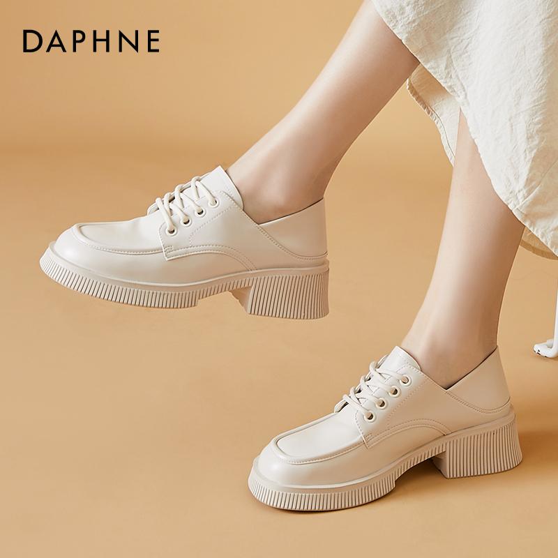 达芙妮英伦风小皮鞋女春秋一脚蹬女鞋厚底松糕鞋增高大头中跟单鞋