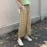 Retro Plaid pants female summer loose straight jeans Korean wild thin models significantly lanky waist wide leg pants pantyhose