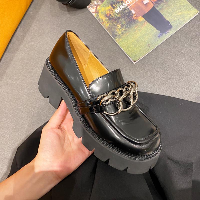 2020秋季新款学生黑色厚底小皮鞋女英伦风粗跟单鞋高跟鞋乐福鞋潮
