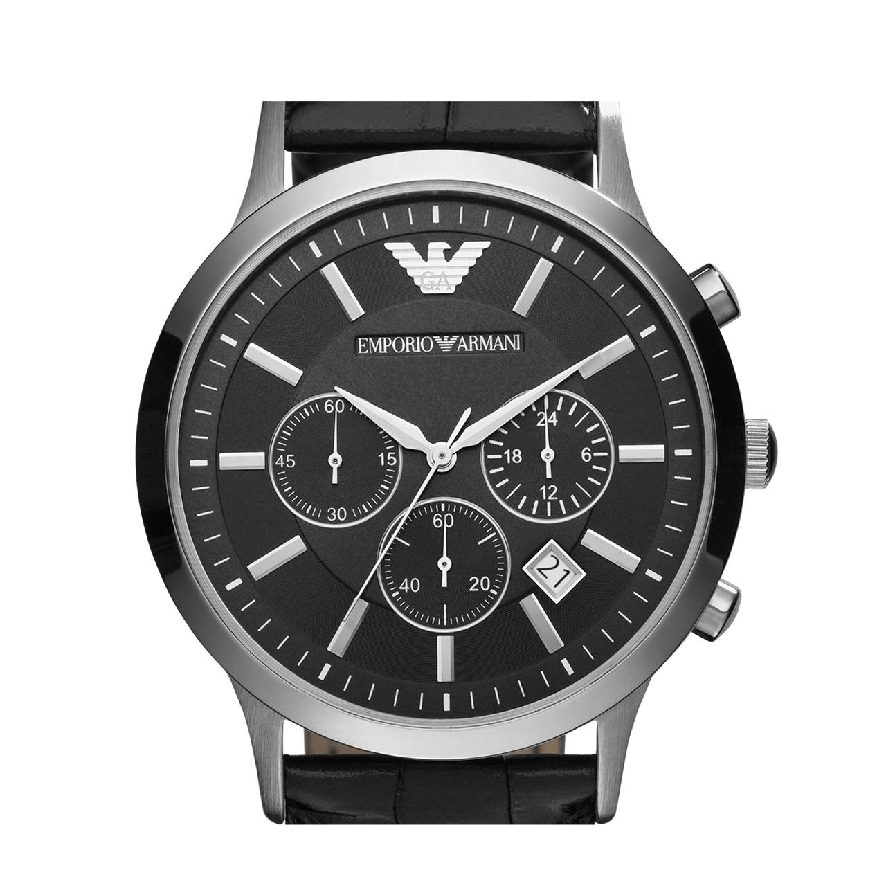 Armani官方正品阿玛尼皮带手表男 多功能时尚防水三眼男表AR2447