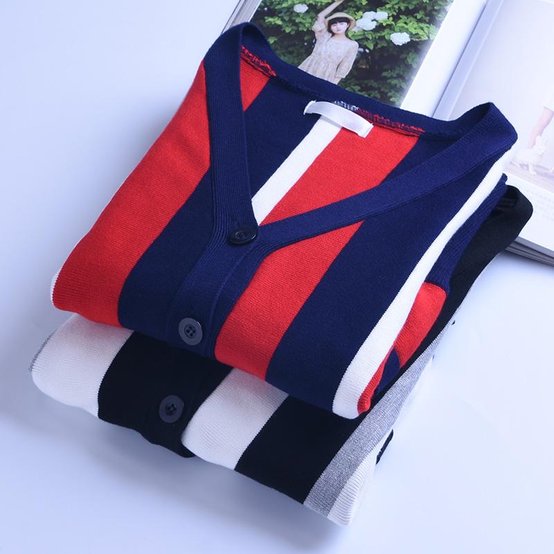 春秋季修身V领针织衫开衫外套女 短款长袖2019新款条纹毛衣外搭厚