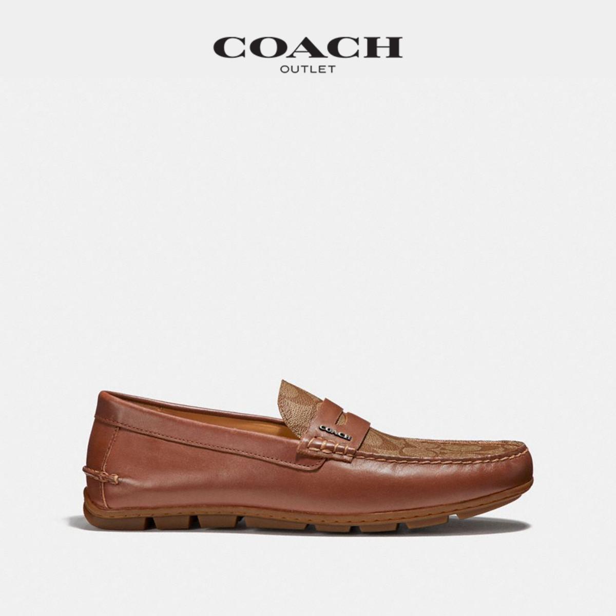 船鞋时尚休闲鞋百搭一脚蹬舒适懒人鞋黑色 MOTT 蔻驰男士 COACH