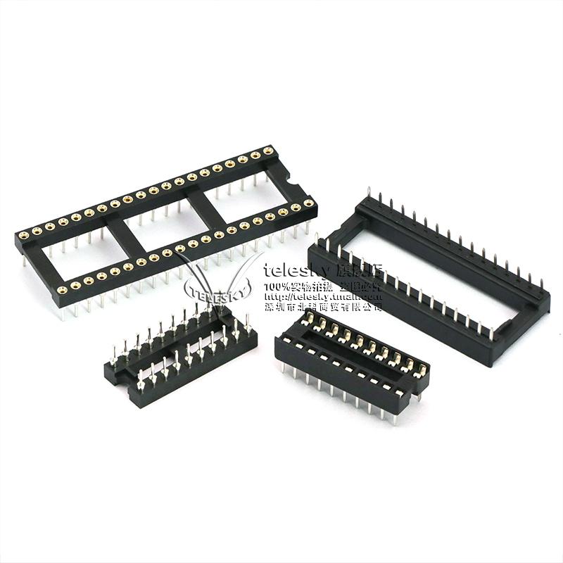 IC插座集成块单片机直插DIP芯片圆孔底座子8P 14 16 20 28 40P脚