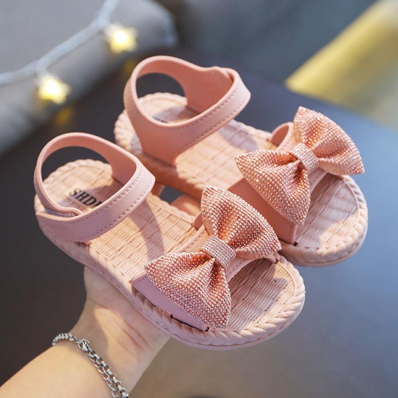 女童凉鞋蝴蝶结新款夏季儿童软底公主鞋小女孩防滑中大童网红凉鞋