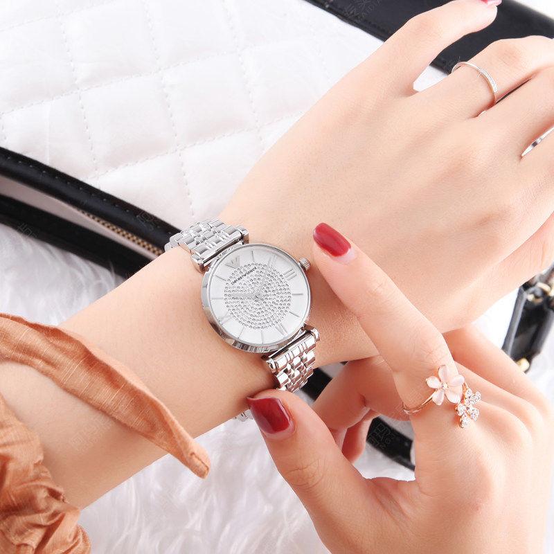 阿玛尼手表女时尚满天星摩天轮星空钢带石英表AR1925