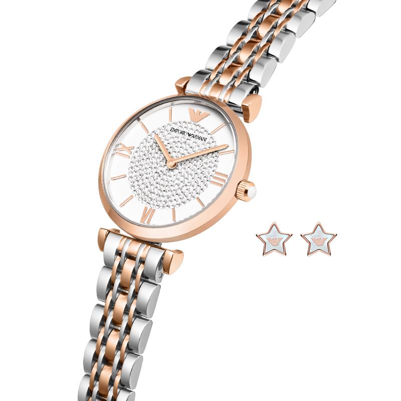 Armani 阿玛尼手表女满天星石英表镶钻时尚女表耳钉套装AR80035