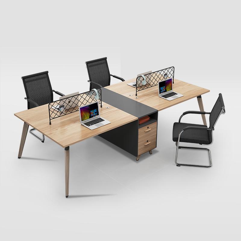 人卡座簡約現代四人位屏風財務辦公桌 4 職員辦公桌椅組合雙員工位