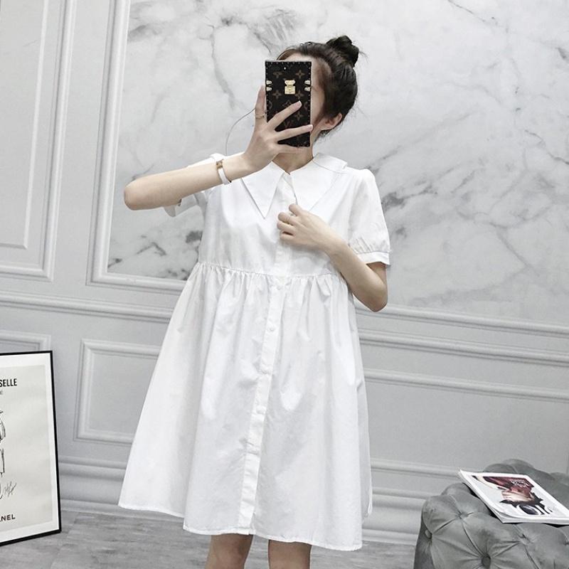 连衣裙女2020夏季新款韩版前后翻领宽松显瘦气质衬衫A字娃娃裙子【图5】