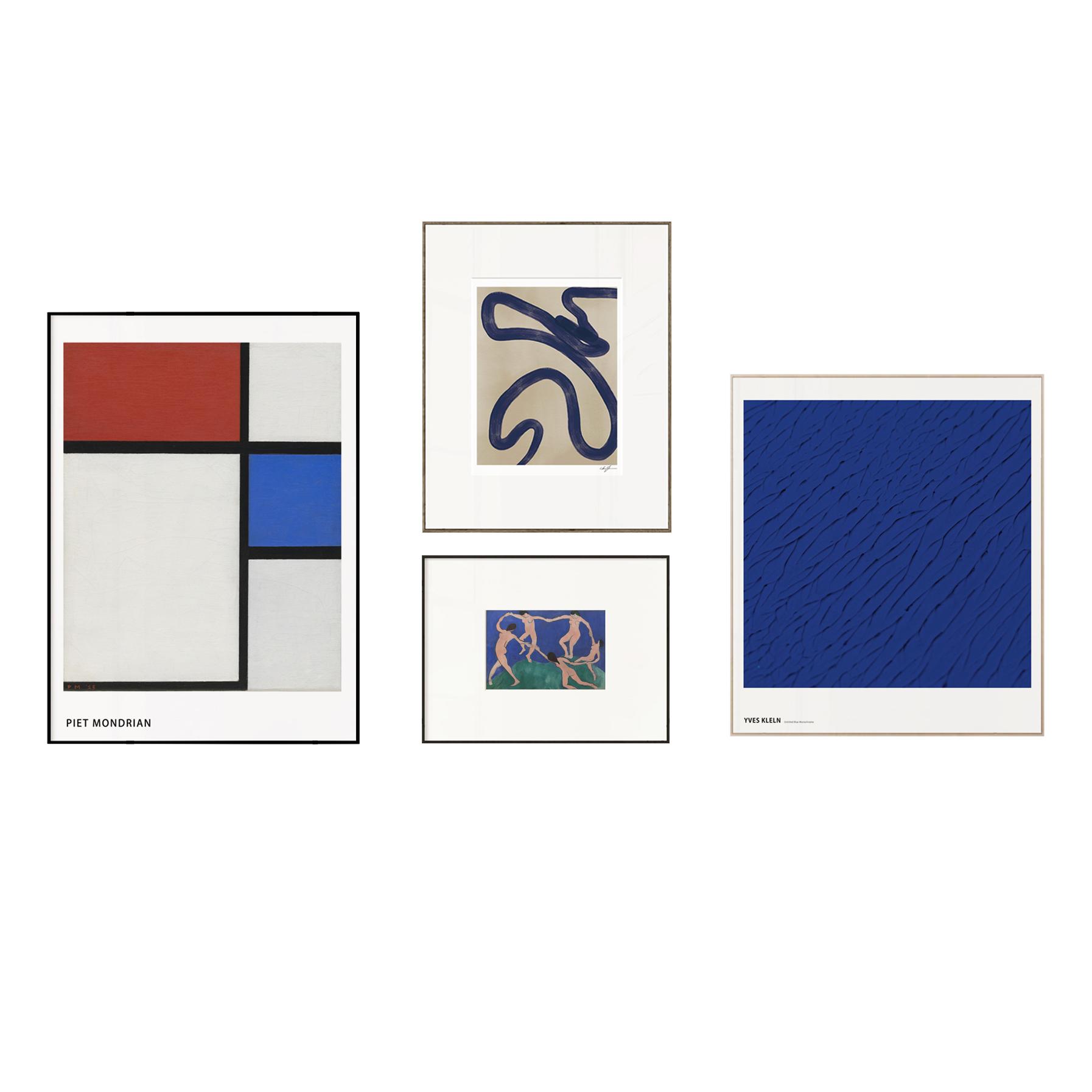 现代简约客厅卧室玄关组合挂画 北欧极简装饰画 丹麦抽象艺术壁画