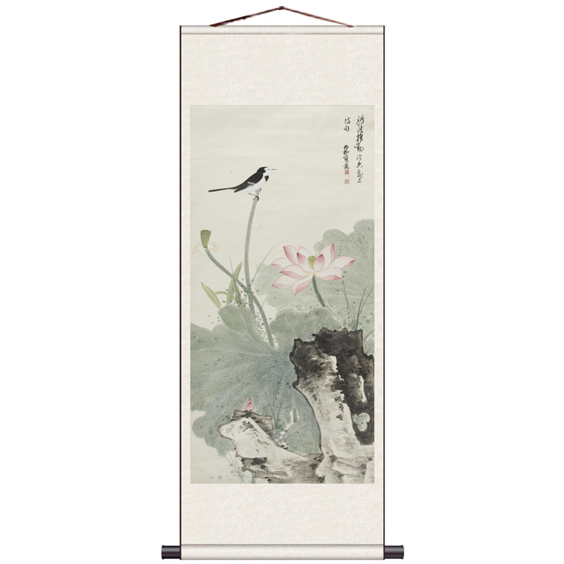謝稚柳國畫花鳥畫裝飾卷軸畫茶樓客廳壁畫風水畫酒店包廂字畫定制