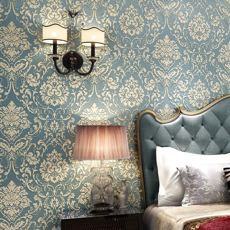 温馨客厅卧室背景墙 立体浮雕壁纸 3D 环保无纺布欧式大马士革墙纸
