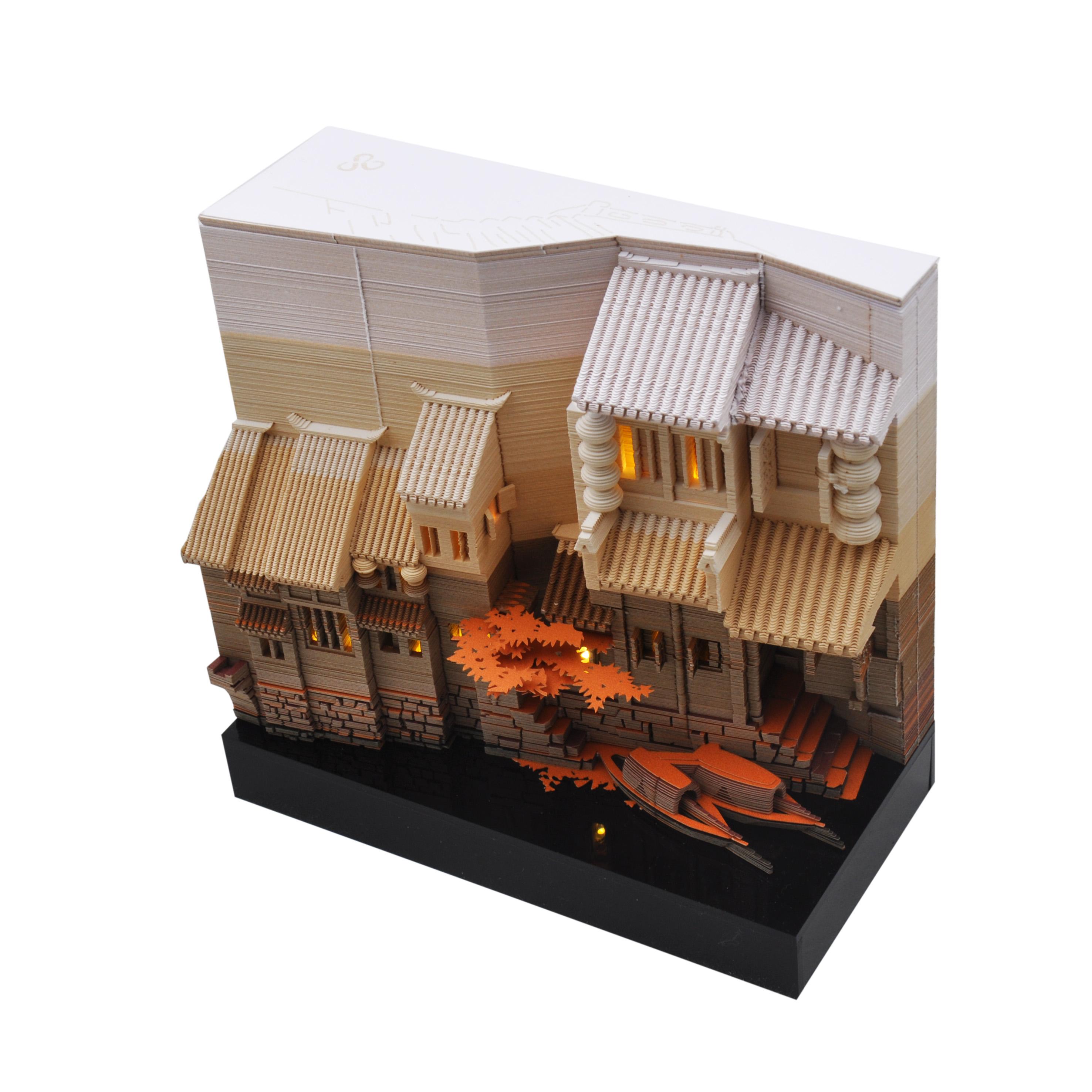 建筑日历艺术书立生日礼物男 3D 创意摆件江南水乡时光历立体便签纸