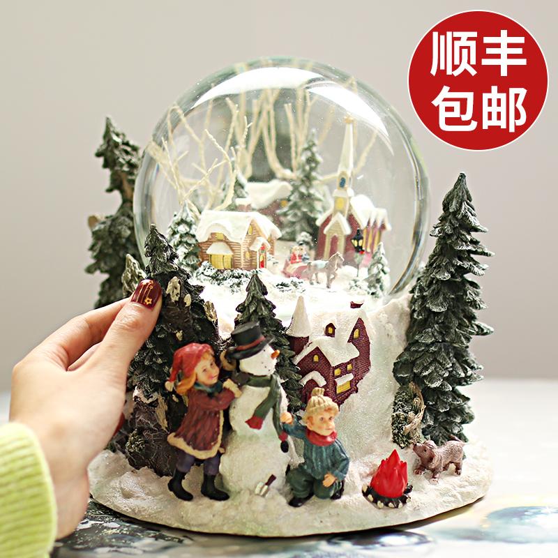 创意生日礼物女生 水晶球音乐盒八音盒平安夜 圣诞节礼物送女朋友