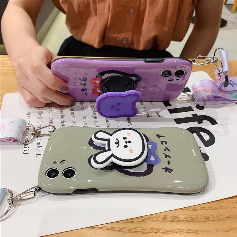 紫色小熊兔子适用苹果11手机壳7p斜跨可背包iphone8plus全包软壳11Pro网红max防摔xs挂绳支架xr硅胶se2保护套