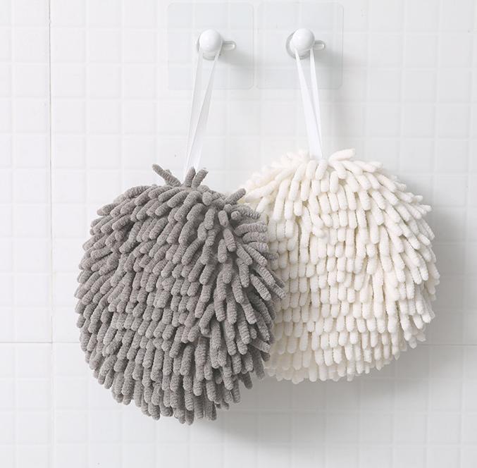 雪尼尔擦手巾厨房挂式加厚擦手球卫生间超强吸水速干可爱擦手毛巾