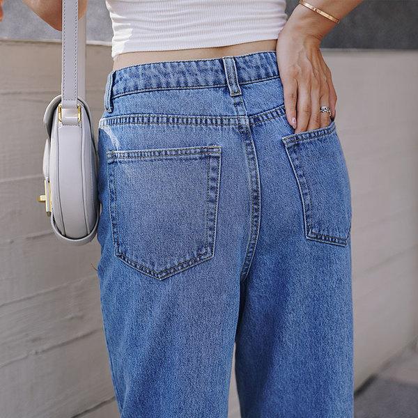 高腰直筒牛仔裤女宽松chic港风显瘦显高百搭破洞夏秋新款潮牛仔裤