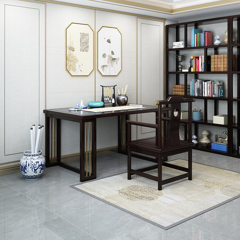 新中式實木書桌輕奢家用書法桌簡約辦公桌茶桌畫案寫字臺畫桌禪意