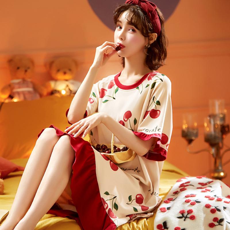 夏季韩版纯棉睡裙女青春学生家居服可爱薄款短袖宽松孕妇睡衣夏天